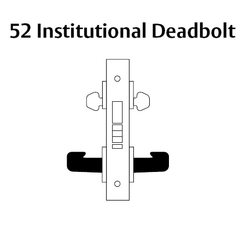 LC-8252-LNA-04-RH Sargent 8200 Series Institutional Mortise Lock with LNA Lever Trim and Deadbolt Less Cylinder in Satin Brass