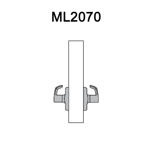 ML2070-NSM-605 Corbin Russwin ML2000 Series Mortise Full Dummy Locksets with Newport Lever in Bright Brass
