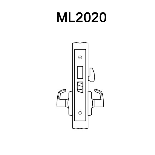 ML2020-DSA-618-LH Corbin Russwin ML2000 Series Mortise Privacy Locksets with Dirke Lever in Bright Nickel