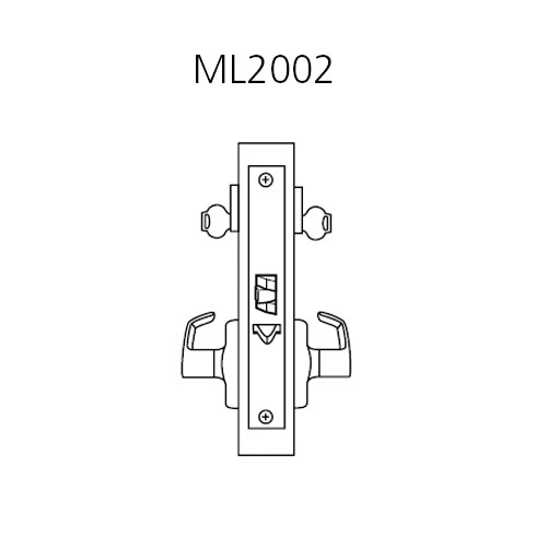 ML2002-DSA-625-LH Corbin Russwin ML2000 Series Mortise Classroom Intruder Locksets with Dirke Lever in Bright Chrome