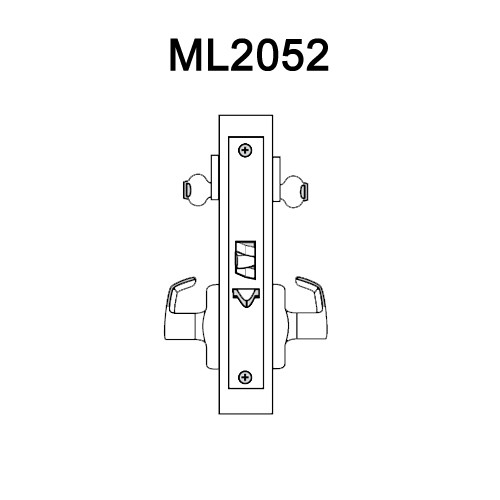 ML2052-DSA-605-LH Corbin Russwin ML2000 Series Mortise Classroom Intruder Locksets with Dirke Lever in Bright Brass