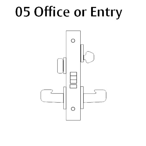 LC-8205-LNJ-03 Sargent 8200 Series Office or Entry Mortise Lock with LNJ Lever Trim Less Cylinder in Bright Brass