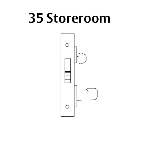 LC-8235-LNJ-04 Sargent 8200 Series Storeroom Mortise Lock with LNJ Lever Trim and Deadbolt Less Cylinder in Satin Brass