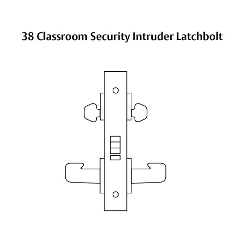 LC-8238-LNJ-03 Sargent 8200 Series Classroom Security Intruder Mortise Lock with LNJ Lever Trim Less Cylinder in Bright Brass