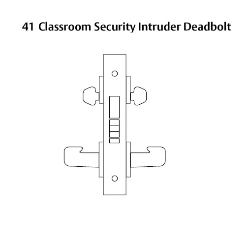 LC-8241-LNJ-03 Sargent 8200 Series Classroom Security Mortise Lock with LNJ Lever Trim Less Cylinder in Bright Brass