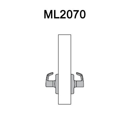 ML2070-DSA-605-RH Corbin Russwin ML2000 Series Mortise Full Dummy Locksets with Dirke Lever in Bright Brass