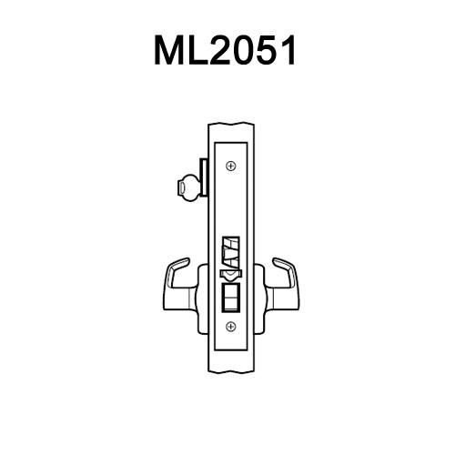ML2051-DSA-606-RH Corbin Russwin ML2000 Series Mortise Office Locksets with Dirke Lever in Satin Brass