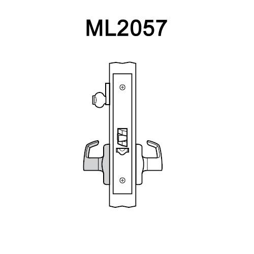 ML2057-DSA-605-RH Corbin Russwin ML2000 Series Mortise Storeroom Locksets with Dirke Lever in Bright Brass
