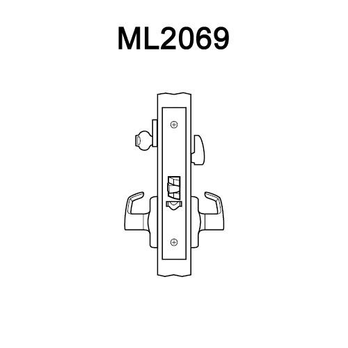 ML2069-DSA-618-RH Corbin Russwin ML2000 Series Mortise Institution Privacy Locksets with Dirke Lever in Bright Nickel