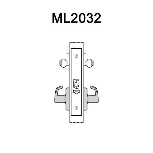 ML2032-DSA-618-RH Corbin Russwin ML2000 Series Mortise Institution Locksets with Dirke Lever in Bright Nickel