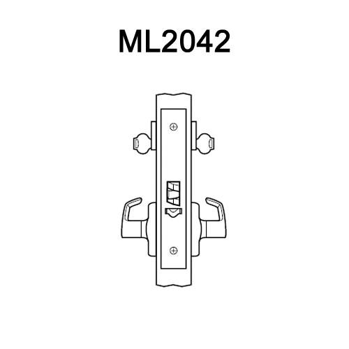 ML2042-DSA-605-RH Corbin Russwin ML2000 Series Mortise Entrance Locksets with Dirke Lever in Bright Brass