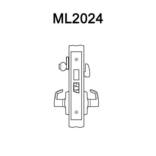 ML2024-DSA-605-RH Corbin Russwin ML2000 Series Mortise Entrance Locksets with Dirke Lever and Deadbolt in Bright Brass