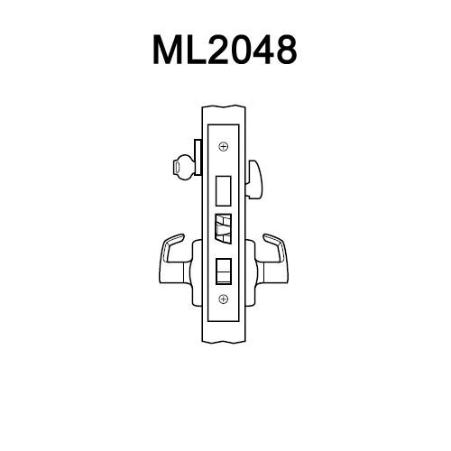 ML2048-DSA-605-RH Corbin Russwin ML2000 Series Mortise Entrance Locksets with Dirke Lever and Deadbolt in Bright Brass