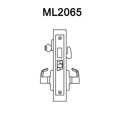 ML2065-DSA-625-RH Corbin Russwin ML2000 Series Mortise Dormitory Locksets with Dirke Lever and Deadbolt in Bright Chrome