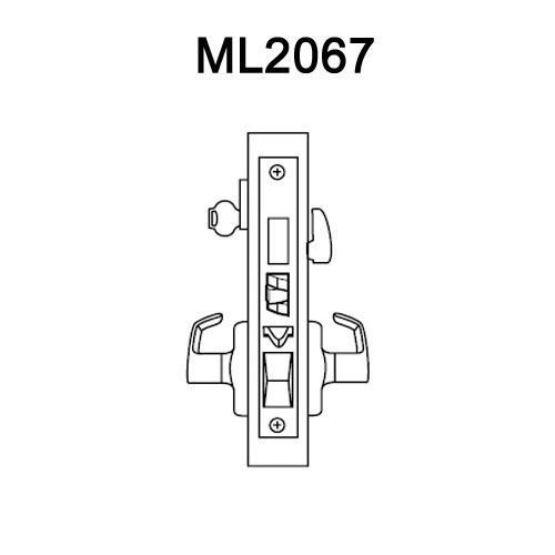 ML2067-DSA-629-RH Corbin Russwin ML2000 Series Mortise Apartment Locksets with Dirke Lever and Deadbolt in Bright Stainless Steel