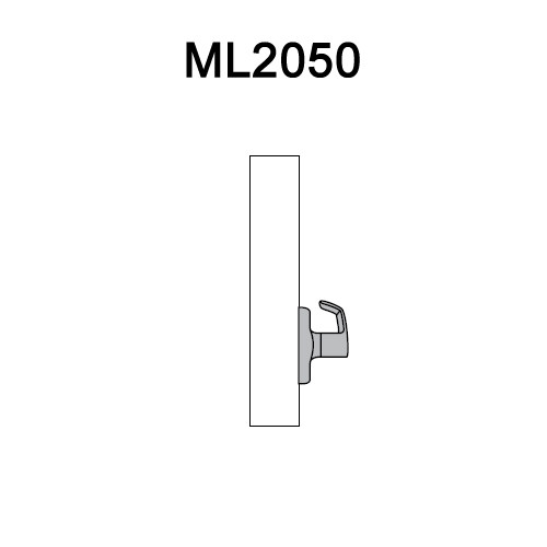 ML2050-PSM-618 Corbin Russwin ML2000 Series Mortise Half Dummy Locksets with Princeton Lever in Bright Nickel