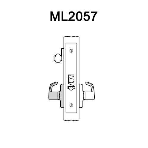 ML2057-PSM-625 Corbin Russwin ML2000 Series Mortise Storeroom Locksets with Princeton Lever in Bright Chrome