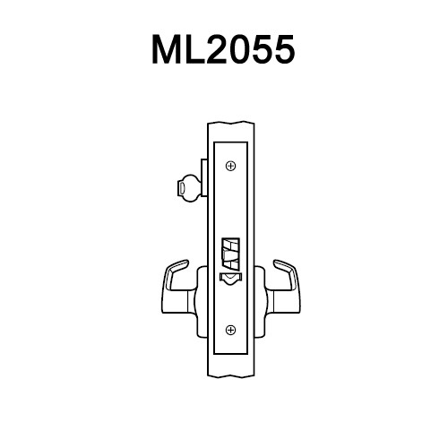 ML2055-LWN-618 Corbin Russwin ML2000 Series Mortise Classroom Locksets with Lustra Lever in Bright Nickel
