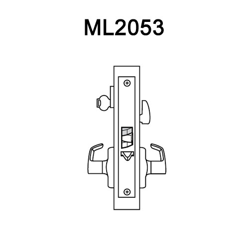 ML2053-LWN-605 Corbin Russwin ML2000 Series Mortise Entrance Locksets with Lustra Lever in Bright Brass