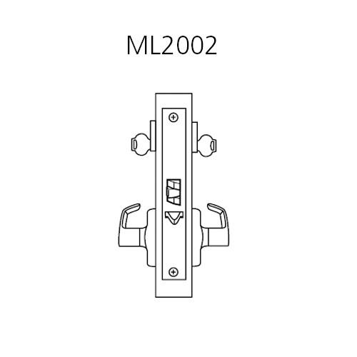 ML2002-LWN-605 Corbin Russwin ML2000 Series Mortise Classroom Intruder Locksets with Lustra Lever in Bright Brass
