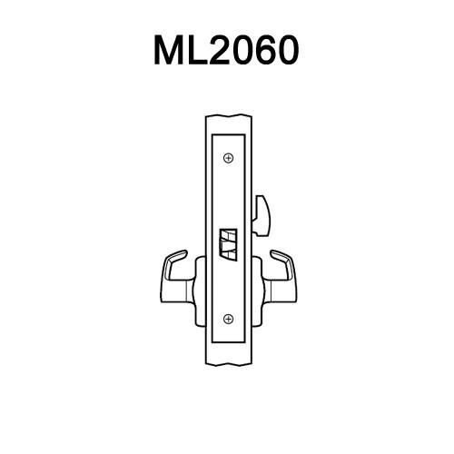 ML2060-NSN-606 Corbin Russwin ML2000 Series Mortise Privacy Locksets with Newport Lever in Satin Brass