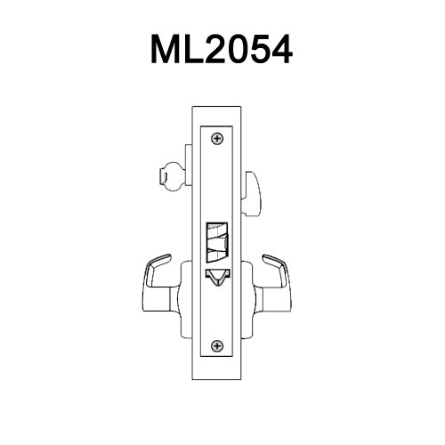 ML2054-NSN-605 Corbin Russwin ML2000 Series Mortise Entrance Locksets with Newport Lever in Bright Brass