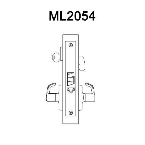 ML2054-NSN-606 Corbin Russwin ML2000 Series Mortise Entrance Locksets with Newport Lever in Satin Brass