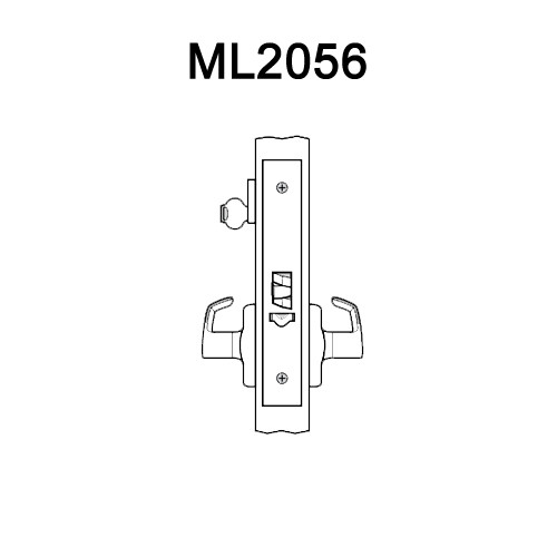 ML2056-ESA-618-LH Corbin Russwin ML2000 Series Mortise Classroom Locksets with Essex Lever in Bright Nickel