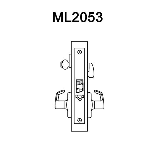 ML2053-ESM-605-LH Corbin Russwin ML2000 Series Mortise Entrance Locksets with Essex Lever in Bright Brass