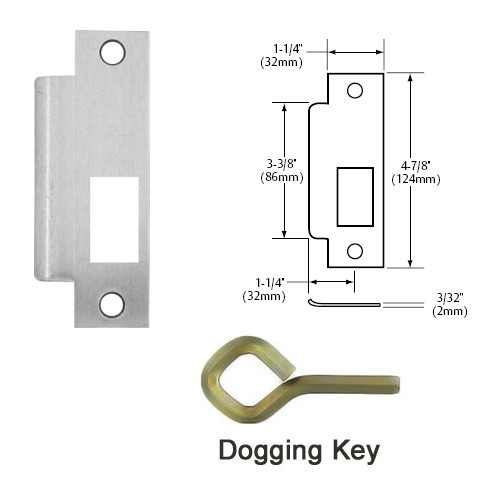 12-9910-LHR-32D Sargent 90 Series Exit Only Fire Rated Mortise Lock Exit Device in Satin Stainless Steel