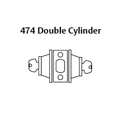 474-26 Sargent 470 Series Double Cylinder Auxiliary Deadbolt Lock in Bright Chrome
