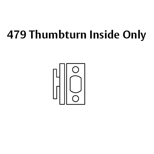 479-26 Sargent 470 Series Thumbturn Auxiliary Deadbolt Lock in Bright Chrome