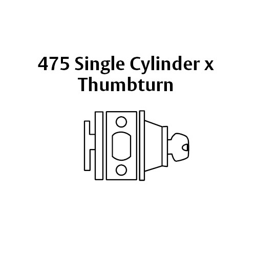 13-475-26 Sargent 470 Series Single Cylinder Auxiliary Deadbolt Lock with Thumbturn in Bright Chrome