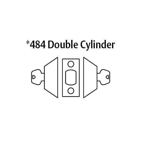 28-484-03 Sargent 480 Series Double Cylinder Auxiliary Deadbolt Lock in Bright Brass