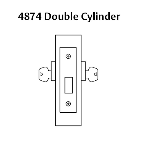 4874-03 Sargent 4870 Series Double Cylinder Mortise Deadlock in Bright Brass