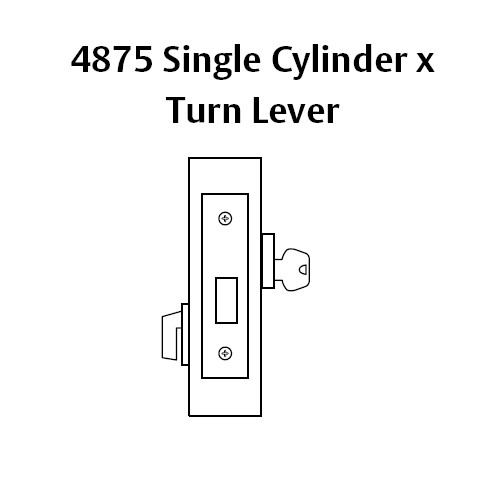 4875-32 Sargent 4870 Series Single Cylinder Mortise Deadlock with Turn Lever in Bright Stainless Steel
