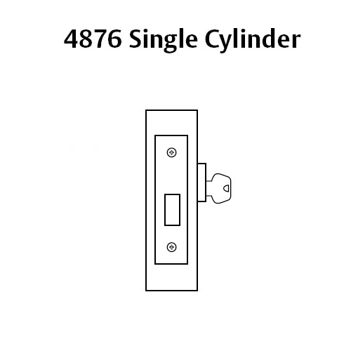4876-03 Sargent 4870 Series Single Cylinder Mortise Deadlock in Bright Brass