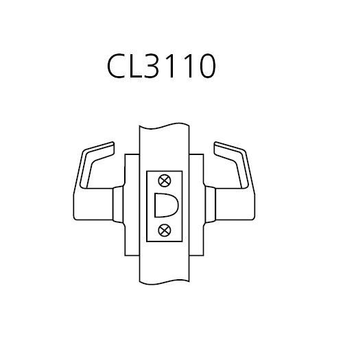 CL3110-AZD-618 Corbin CL3100 Series Vandal Resistant Passage Cylindrical Locksets with Armstrong Lever in Bright Nickel Plated