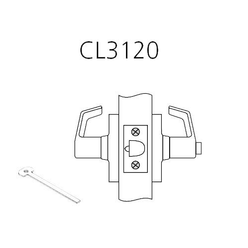CL3120-PZD-625 Corbin CL3100 Series Vandal Resistant Privacy Cylindrical Locksets with Princeton Lever in Bright Chrome
