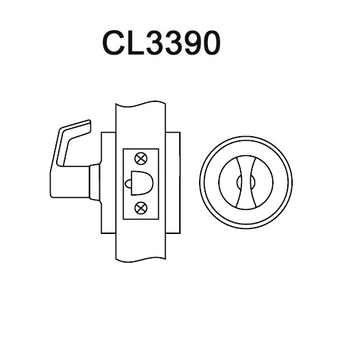 CL3390-AZD-613 Corbin CL3300 Series Extra Heavy Duty Passage with Turnpiece Cylindrical Locksets with Armstrong Lever in Oil Rubbed Bronze