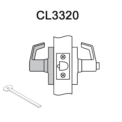 CL3320-PZD-625 Corbin CL3300 Series Extra Heavy Duty Privacy Cylindrical Locksets with Princeton Lever in Bright Chrome
