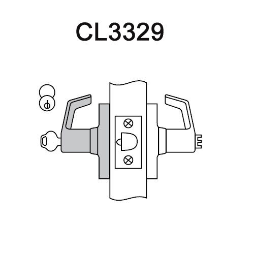 CL3329-PZD-618 Corbin CL3300 Series Extra Heavy Duty Hotel Cylindrical Locksets with Princeton Lever in Bright Nickel Plated