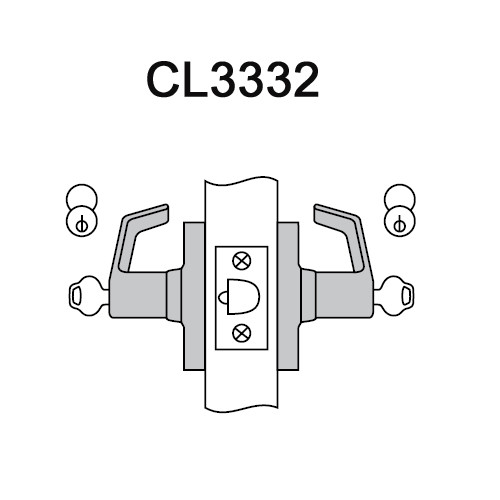 CL3332-PZD-625-LC Corbin CL3300 Series Less Cylinder Extra Heavy Duty Institution Cylindrical Locksets with Princeton Lever in Bright Chrome