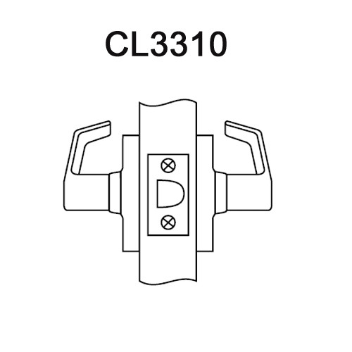 CL3310-NZD-625 Corbin CL3300 Series Extra Heavy Duty Passage Cylindrical Locksets with Newport Lever in Bright Chrome