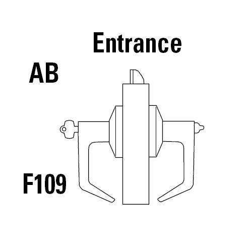 9K37AB15DSTK618 Best 9K Series Entrance Cylindrical Lever Locks with Contour Angle with Return Lever Design Accept 7 Pin Best Core in Bright Nickel