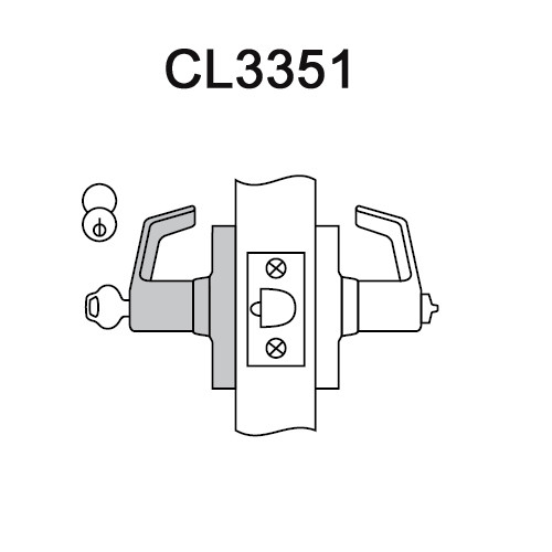 CL3351-NZD-626-LC Corbin CL3300 Series Less Cylinder Extra Heavy Duty Entrance Cylindrical Locksets with Newport Lever in Satin Chrome