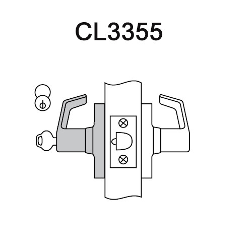 CL3355-NZD-626-LC Corbin CL3300 Series Less Cylinder Extra Heavy Duty Classroom Cylindrical Locksets with Newport Lever in Satin Chrome