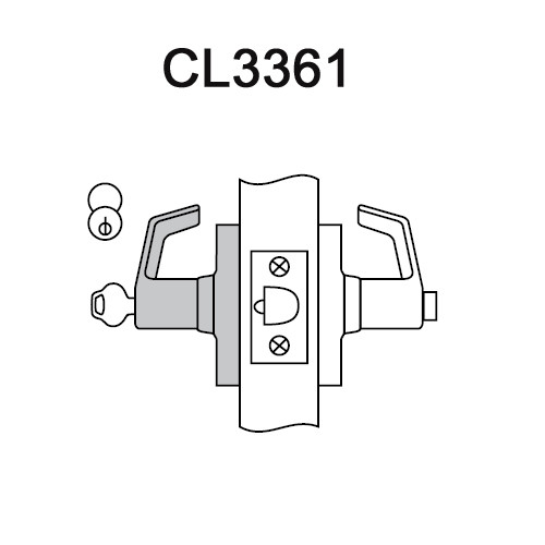 CL3361-NZD-626-CL6 Corbin CL3300 Series IC 6-Pin Less Core Extra Heavy Duty Entry or Office Cylindrical Locksets with Newport Lever in Satin Chrome