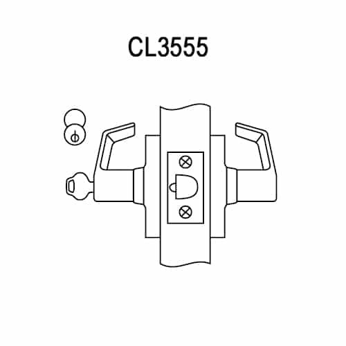 CL3555-NZD-618 Corbin CL3500 Series Heavy Duty Classroom Cylindrical Locksets with Newport Lever in Bright Nickel Plated