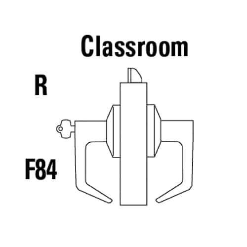 9K37R15CSTK626 Best 9K Series Classroom Cylindrical Lever Locks with Contour Angle with Return Lever Design Accept 7 Pin Best Core in Satin Chrome